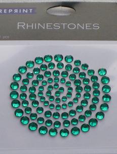 R0708 Grön Rhinestones